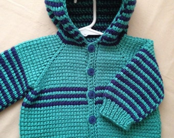 Crochet Baby Boy Sweater with Hood - Dark Blue and Deep Sea - MADE TO ORDER - 6-12 Months in Tunisian Crochet - Handmade