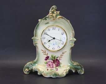 Vintage Royal Oxford China Clock W/Floral Hand-Painted (E4819)