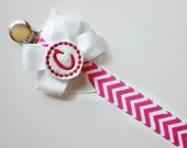 Pacifier Clip Monogram Pacifier Clip  Pink Chevron Personalized Baby Girl Pacifier Holder Soothie Nuk Mam you pick Great for Twins Baby Gift
