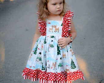 Rudolph Christmas Dress--size 12mos to 8y