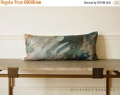 ON SALE Plant motif lumbar pillowcase. Green linen pillow...In the Greenhouse  /  FRAGMENTS. Getting the green into your home.