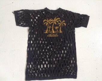 Vintage Bahamas t shirt shredded XXXL