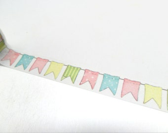 FREE SHIPPING - Bunting Washi Tape - Pastel Washi Tape - Flags Washi Tape