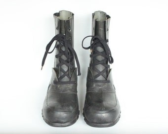 Vintage US Army Bristolite QMC Military Rubber Military Boots 6N