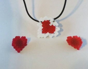 Lacey Heart Necklace and Earring Set