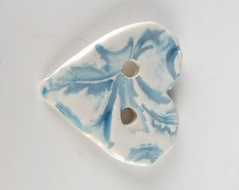 Medium Blue White Brocade Texture Heart Shaped Ceramic Button