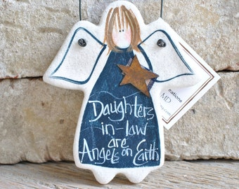 Daughter in Law Gift Salt Dough Angel Ornament