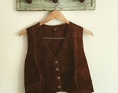 Chocolate suede snap front dream vest