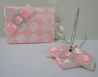Wedding Guest Book and Pen Set, Quince Guest Book, Sweet 16 Guest Book with Swarovski Crystals - Custom Made to Order