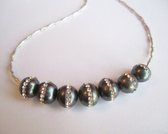 Rhinestone Pave Pearls ./. Peacock Pearl Necklace ./. Collier Perles ./. Sparkling Necklace ./. Silver and Rhinestone Pearl Necklace