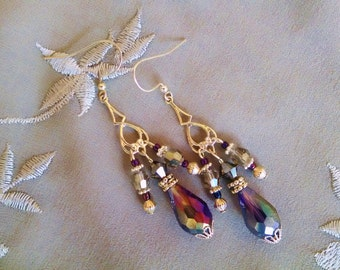 Purple chandelier earrings, Gypsy Silver purple gray crystal chandelier earrings