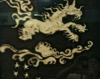 Unicorn Leaps Washington County  - Unicorn  Landscape - Original batik painting