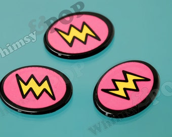 5 - Comic Book Style Yellow Hot Pink Resin Lightning Bolt Cabochons, Lightning Cabochon, 29mm x 22mm (R9-019)