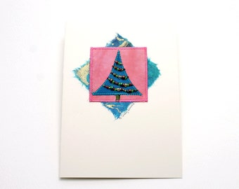 Greeting Card, Holiday Tree, Mixed Media, Turquoise Pink Beaded