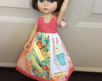 Doll clothes, Tonner, Betsy McCall, Wellie Wisher, ARTSY, shabby chic, vintage linens, ooak, 3 piece outfit