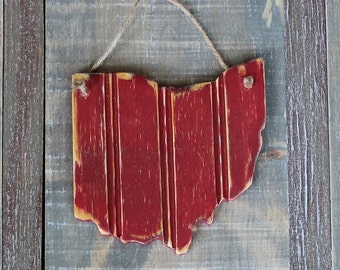 Mini Wooden State, Hanging- Distressed Bead Board, Unique Gift, State Pride, Ohio