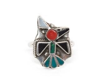 Zuni Inlay Bird Sterling Silver Ring