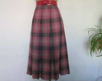 Warmer Pleated Skirt Vintage / Wool /Poly / Size EUR38 / UK10 / Checkered