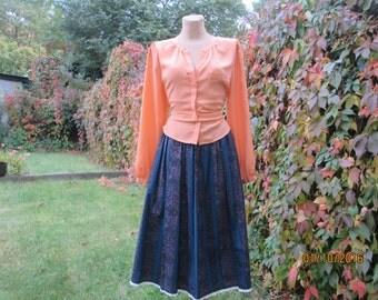 Cotton Skirt / Full Skirt / Cotton Full Skirt / Pocket / Size EUR40 / UK12 / Blue / Turquoise / Black / Trachten / German Skirt