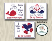 Valentines, Kids School Valentines, Valentines Day, Favor Tags, Valentine Cards,  Instant Download, Printables, Nautical, Whales