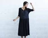 Valentines day SALE 30% OFF Embroidered Lace Up Dress, Black.