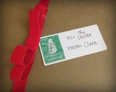 Set of 12- Celelbrate! Dalek -Cardstock Gift Sticker To, From-Watercolor print Dalek with Chritmas Lights- Dr Who inspired