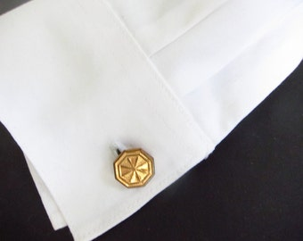 Vintage cufflinks, Gold Octagon cuff links, Fathers Day Gift, Two Girls Gems