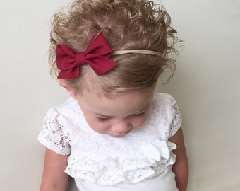 Berry Folded Sailor Bow -Maroon Burgundy Red Bow Headband Clip - Folded Bow - Maroon Burgundy Bow Headband Clip -Maroon Sailor Bow Headband