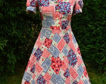 70s red, white and blue patchwork print dolly dress size S/M