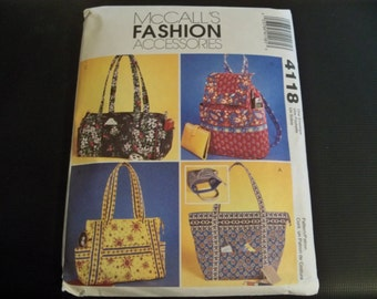McCall's 4118 Fashion Accessories Misses Handbags Patterns and Instructions to Make Four Quilted Handbags Vera Bradley Style Handbag Purse