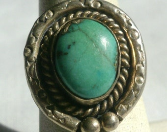 Sterling Silver Turquoise Ring-Size 7 1/2