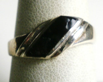 Sterling Silver Onyx Ring-Size 7