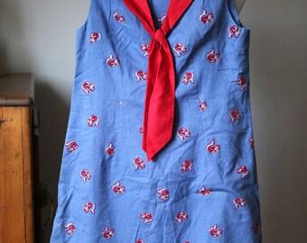 Vintage Women's Dress Size Small Flocked Squirrel Nut Blue Cotton Dress