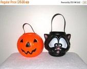 RES. for Erica ~ Black Cat & Jack-O-Lantern Halloween Candy Buckets / Carolina Enterprises / Vintage Blow Mold / Set #2 / Small Split