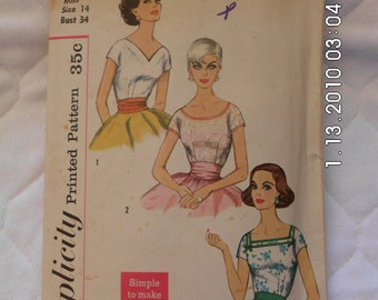 Ladies missed BLOUSE TOP Simplicity 4250 vintage pattern 1958 mad men mid century size 14 bust 34 simple to make