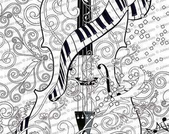 adult coloring page printable adult violin coloring poster instant download coloring poster