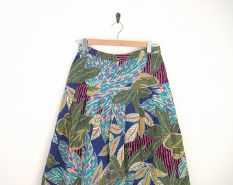 Vintage 1980s Florak Print Skirt. Tropical Floral Skirt. High Waist Pleat Skirt. Hawaiian Print Pleated Skirt.