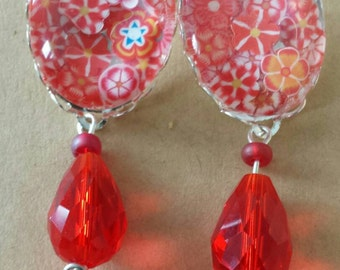 Sale was 17 now 15uk Silvertone Oval Cabochon Red faux milli fiori earrings with Glass dangles.
