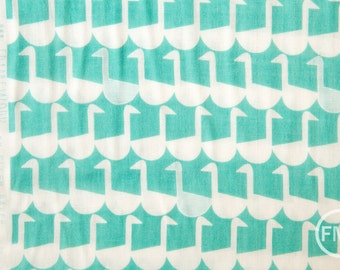 Framework Sitting Geese in Aqua Blue, Ellen Baker for Kokka Fabrics, Double Gauze Cotton Fabric, JG-41800-802C