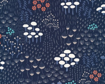 Wildwood Midnight Flora in Navy, Elizabeth Olwen, 100% GOTS-Certified Organic Cotton, Cloud9 Fabrics, 124112