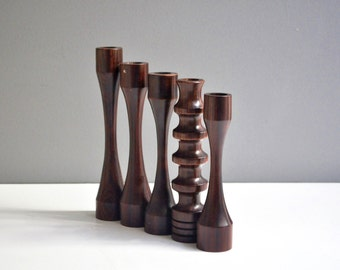 Collection of Solid Wood Vintage Candle Holders