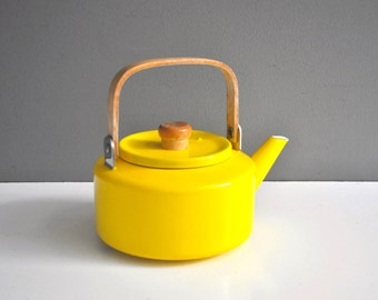 Vintage Yellow Enamel Tea Kettle