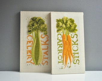 Vintage Pair of Crewel Embroidered Wall Hangings - Celery Stalks and Carrot Sticks
