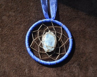 Radiant Light Dream Catcher Necklace- with a Beautiful Rainbow Moonstone Cabachon- Pick Your Color