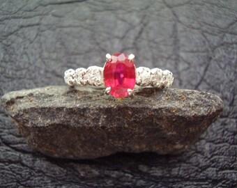 Firecracker - Genuine Ruby & White Topaz Engagement Ring, 925 Sterling Silver Ring, July BIrthstone, Gifts For Her, Alternative Wedding Ring