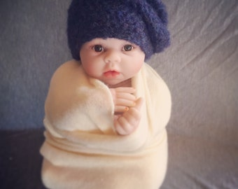 Slouchy hipster navy mohair beanie hat. Size newborn. Great photo prop. Uk seller