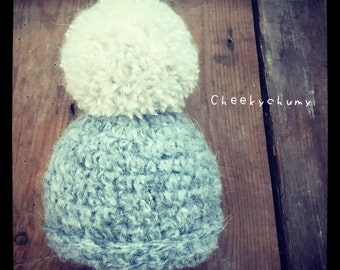The Big Bobble beanie hat.  Baby shower gift. Photo photography prop. Choose size