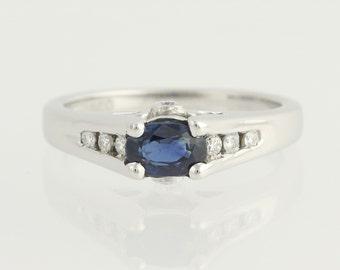 Sapphire & Diamond Engagement Ring - 14k White Gold .94ctw Unique Engagement Ring N107