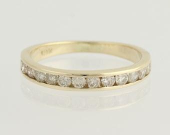 Diamond Wedding Band - 10k Yellow Gold Channel Set Ring Women's .50ctw N865