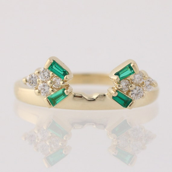 synthetic emerald enhancer ring 14k yellow gold